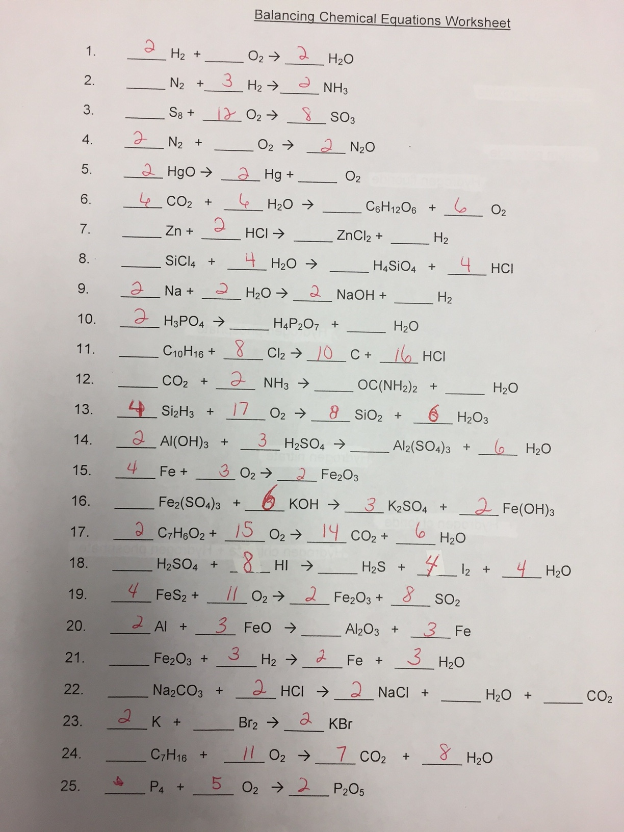 Worksheets Chapter 7 Worksheet 1 Balancing Chemical Equations balancing chemical equations chapter 7 worksheet 1 delibertad answers